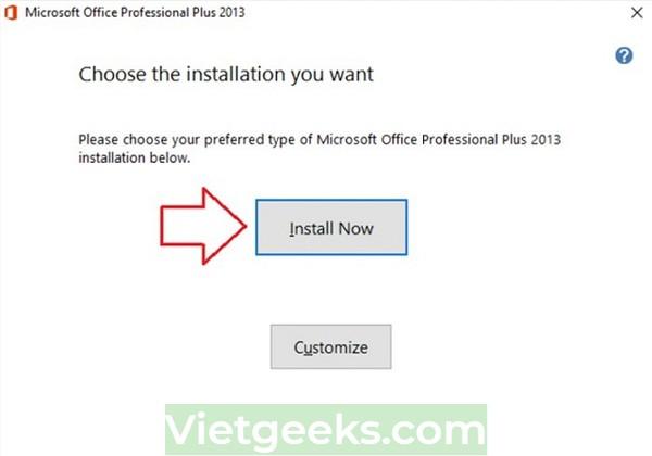 """Chọn """"Install Now"""" để tiến hành cài MSO 2013"""