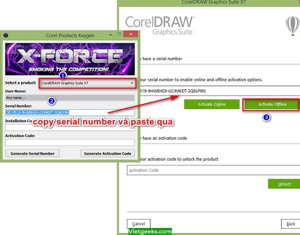Dán dãy số vào ô Serial Number ở phần mềm Coreldraw X7