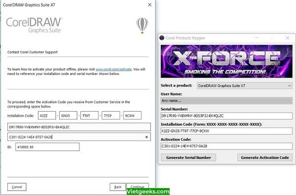 Dán mã vào mục Activation Code của phần mềm Coreldraw X7