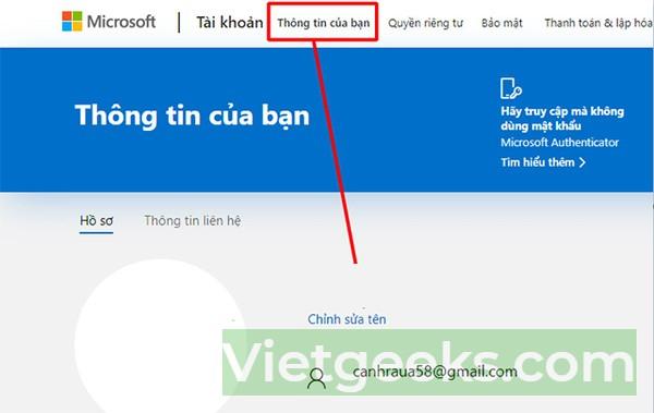 Đổi tên tài khoản Microsoft trên máy tính win 10
