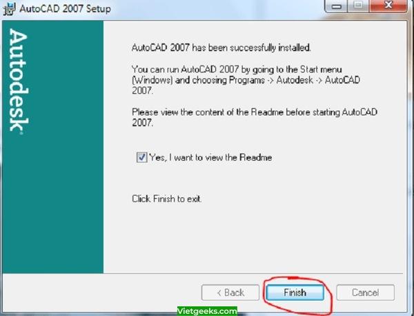 Hoàn thành cài đặt AutoCAD 2007 vào máy.