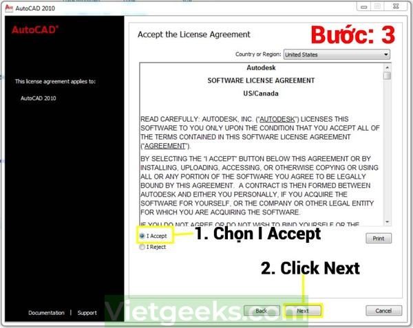 "Chọn ""I Accept"" sau đó click Next"