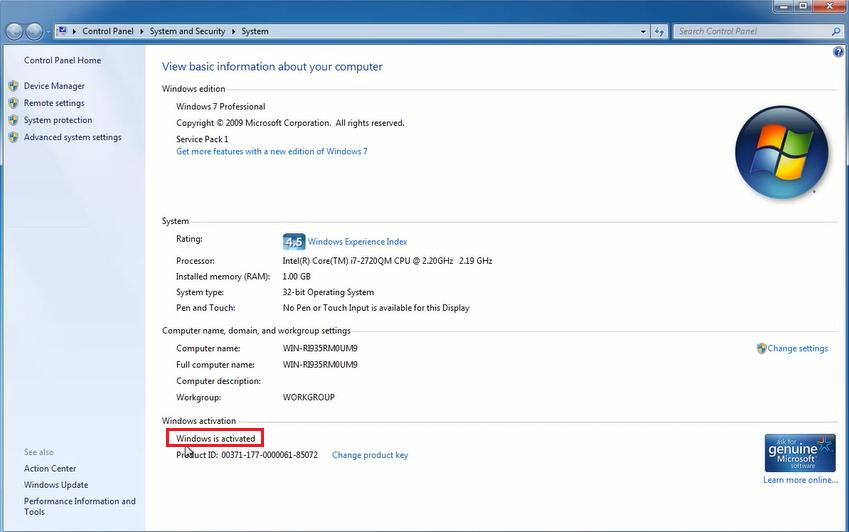 Windows 7 đã được active
