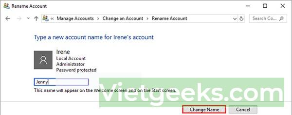 Nhập tên người dùng tài khoản mới