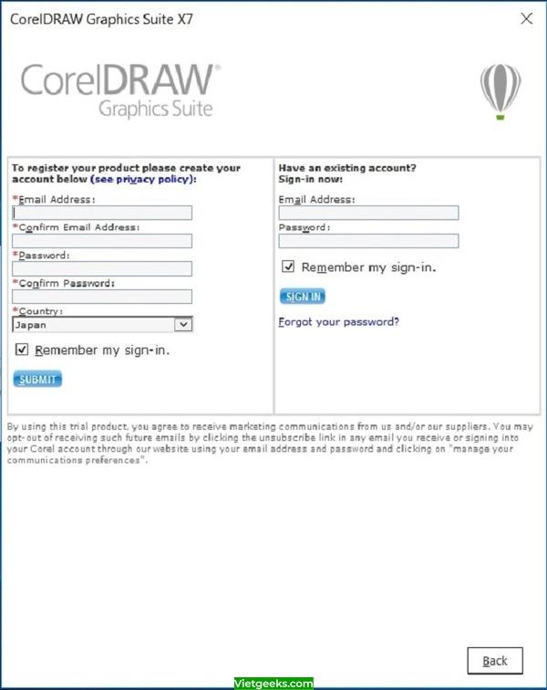 Thông báo đăng ký hoặc đăng nhập