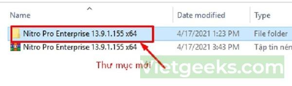 Xuất hiện thư mục mới đã giải nén, bạn click vào thư mục đó để tìm file cần mở