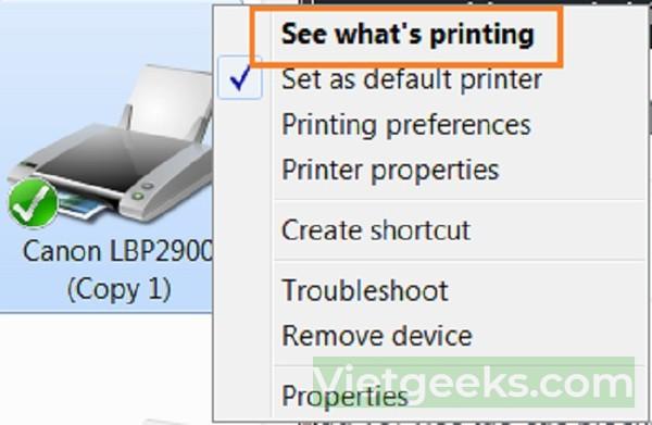 Đánh dấu tích vào mục cần hủy bỏ lệnh in