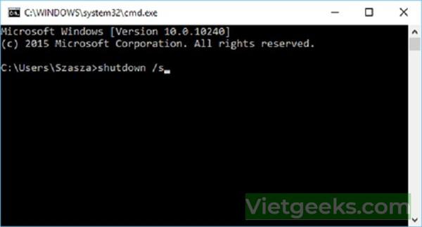 Giao diện tắt máy khi sử dụng câu lệnh Shutdown