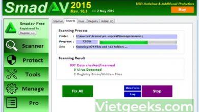 Giao diện tìm kiếm và tiêu diện Virus của công cụ Smadav Antivirus