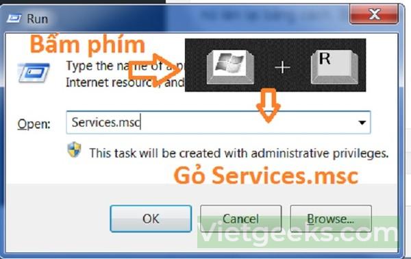 Hộp thoại Run xuất hiện để bạn khởi chạy dịch vụ Print Spooler