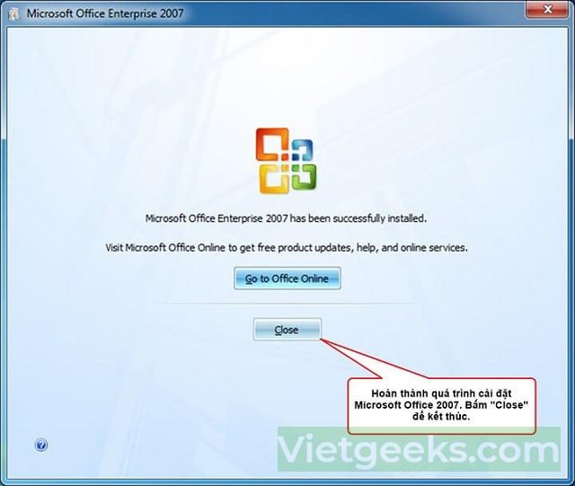 Nhấn chọn close để hoàn tất quá trình cài đặt phần mềm