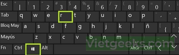 Nhấn phím tắt lá cờ và phím R để xóa lệnh in trên máy tính