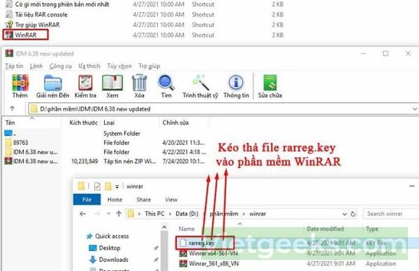 Kéo thả file rarreg.key vào phần mềm Winrar