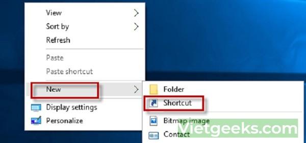 Tắt máy tính nhanh chóng bằng thiết lập Shortcut trên Win 10
