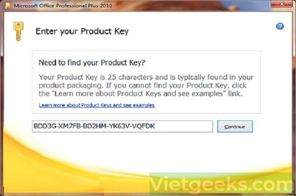 Tiến hành nhập key theo yêu cầu của hệ thống Microsoft Office