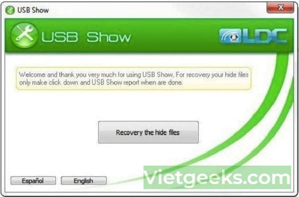 USB Show là tiện ích tuyệt vời giúp bạn khôi phục file ẩn trên máy tính