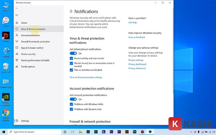 "Chuyển sang trạng thái ""Off"" trong phần ""Virus & threat protection notifications"""