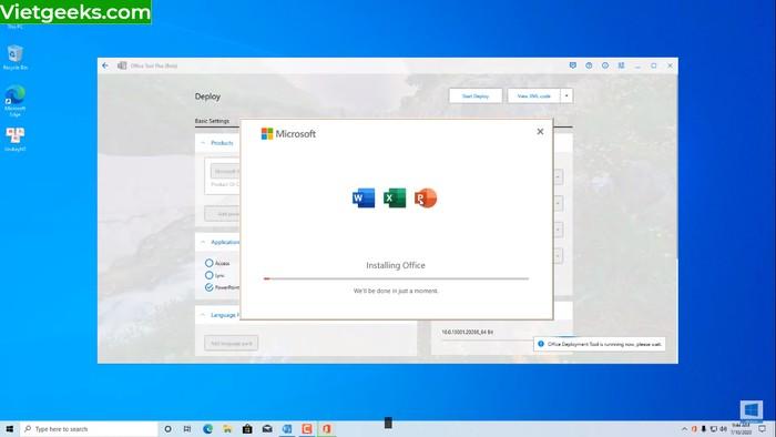 Giao diện màn hình trong quá trình Installing Office