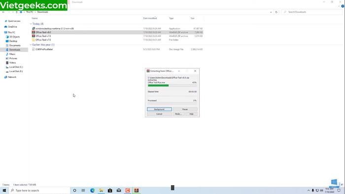 Chờ trong giây lát để giải nén thành công Office 365