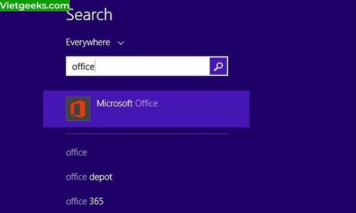 """Gõ chữ """"Microsoft Office"""" hoặc """"Office"""" để tìm kiếm"""