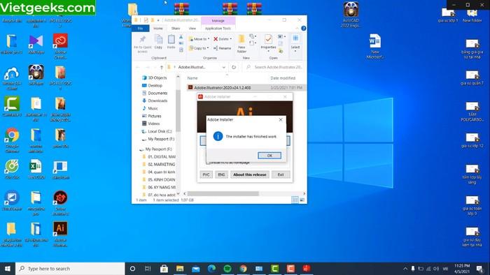 Giao diện màn hình sau quá trình Install