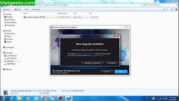 """Giao diện màn hình khi mở file """"ProShow_Producer_90_3793"""""""