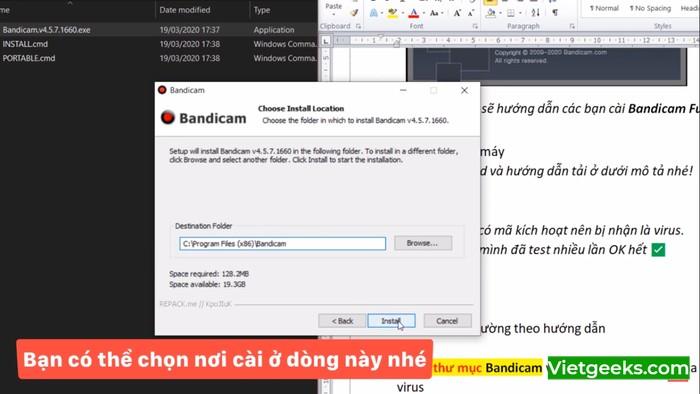 """Bạn có thể lưu file ở ổ C và nhấn """"Install"""" để cài đặt"""